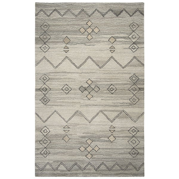 Hand-Tufted Suffolk Gray Moroccan 100-percent Wool Area Rug (8' x 10')