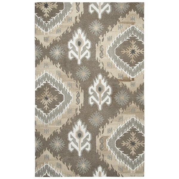 Hand-tufted Suffolk Brown Medallion Ikat Wool Area Rug (8' x 10')