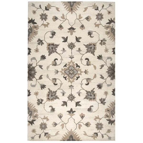 Hand-Tufted Suffolk Beige Oriental Floral Wool Area Rug (9' x 12')