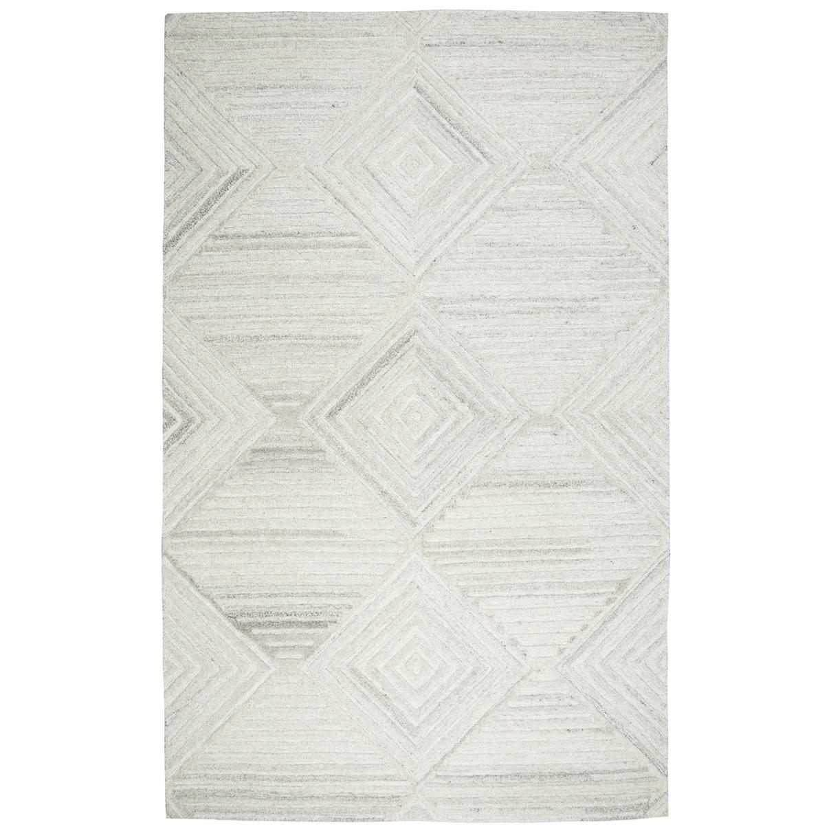 Hand-tufted Makalu Ivory  Geometric/ Solid  Wool Area Rug  (9 x 12) - 9 x 12 (9 x 12 - Ivory)