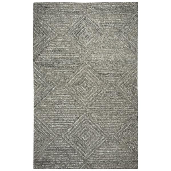 Hand-tufted Suffolk Grey Geometric/ Solid Wool Area Rug (9' x 12') - 9' x 12'