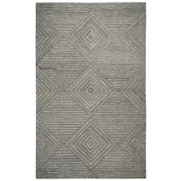 Hand-tufted Suffolk Grey Geometric/ Solid  Wool Area Rug  (9' x 12') - 9' x 12'