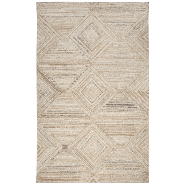 Hand-tufted Suffolk Tan Geometric/ Solid Wool Area Rug (9' x 12')