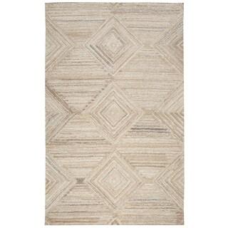 Hand-tufted Suffolk Tan Geometric/ Solid Wool Area Rug (9' x 12')