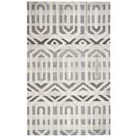 Hand-tufted Suffolk Grey Geometric  Wool Area Rug  (9' x 12')