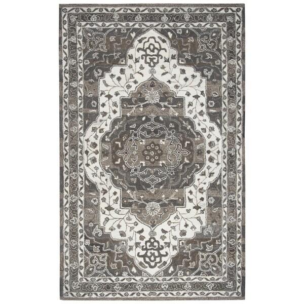 Hand-Tufted Suffolk Beige Oriental Medallion Wool Area Rug (8' x 10')