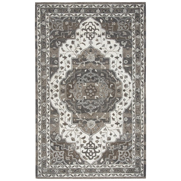 Hand-tufted Suffolk Beige Oriental Medallion Wool Area Rug (9' x 12')