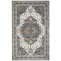 Hand-tufted Suffolk Beige Oriental Medallion  Wool Area Rug  (9' x 12')