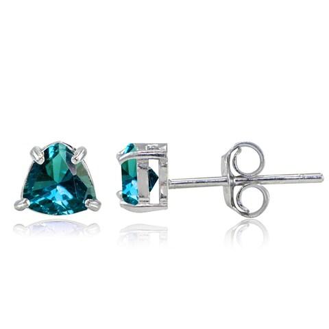 Glitzy Rocks Sterling Silver London Blue Topaz Trillion-Cut Stud Earrings