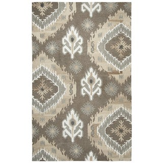 Hand-Tufted Suffolk Brown Medallion Ikat 100% WOOL Area Rug (9' x 12')