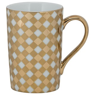 10 Strawberry Street Madi Gold-tone Porcelain Lattice Mug (Pack of 6)