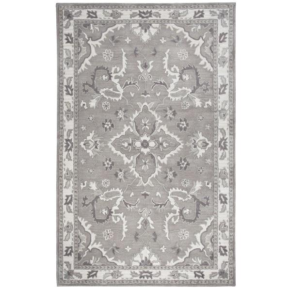 Hand-Tufted Valintino Gray Ornamental Wool Area Rug (9' x 12')