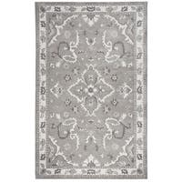 Hand-Tufted Valintino Gray Ornamental Wool Area Rug  (9' x 12')