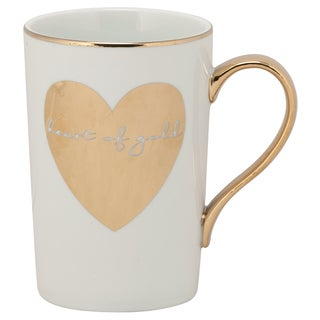 Madi Mug 'Heart of Gold' Gold Porcelain Mugs (Set of 6)