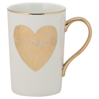 10 Strawberry Street Madi Mug 'Heart of Gold' Gold Porcelain Mugs (Set of 6)