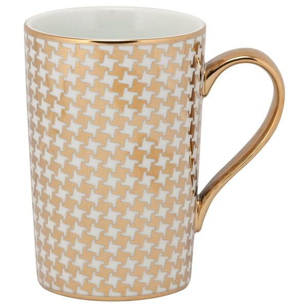10 Strawberry Street Madi Gold-tone Porcelain Houndstooth Mug (Pack of 6)