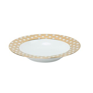 10 Strawberry Street Gingham Gold-tone Rim Porcelain Soup Plate (Pack of 6)
