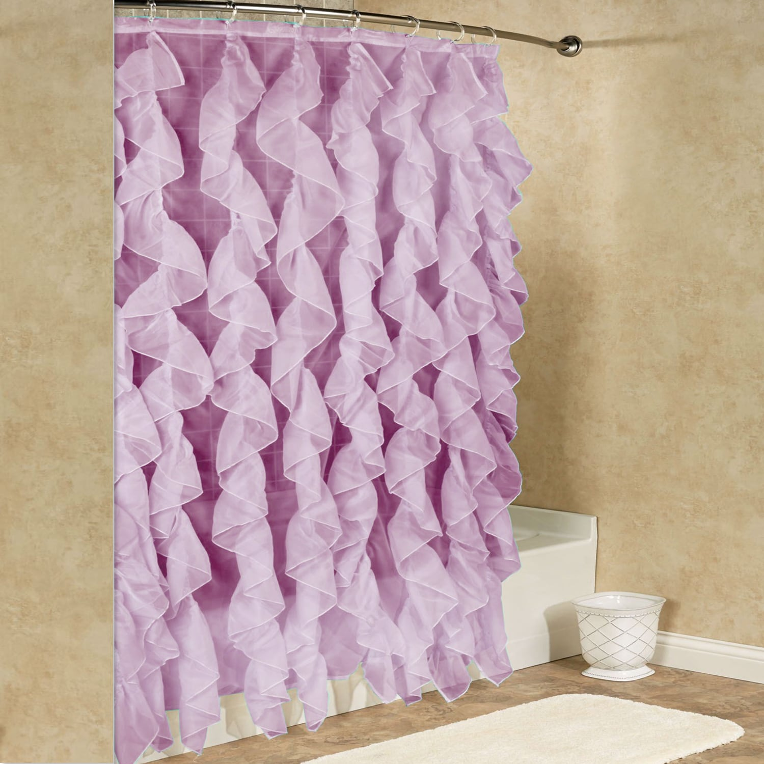 Shop Chic Sheer Voile Vertical Waterfall Ruffled Shower Curtain