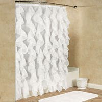Chic Sheer Voile Vertical Waterfall Ruffled Shower Curtain