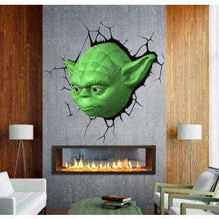 Full Color Yoda 3d Full Color Decal, Star Wars 3d Full color sticker, wall art Sticker Decal size 33x39