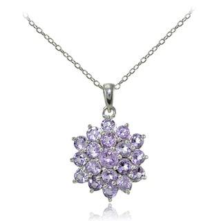 Link to Glitzy Rocks Sterling Silver Gemstone Flower Necklace Similar Items in Birthstone Jewelry