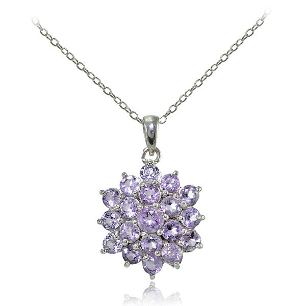 Glitzy Rocks Sterling Silver Gemstone Flower Necklace