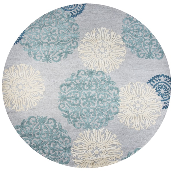 Shop Hand Tufted Dimensions Blue Wool Medallion Round Area