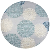 Hand-tufted Dimensions Blue Wool Medallion Round Area Rug (8'x8')