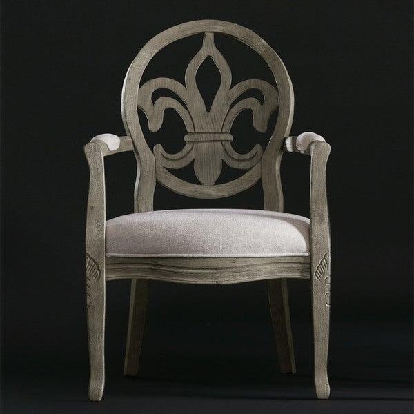 Superb Fleur De Lis Raw Bean/Cream Linen Arm Chair