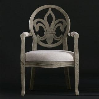 Fleur de Lis Raw Bean/Cream Linen Arm Chair