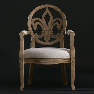 Fleur de Lis Light Roast/Cream Linen Arm Chair