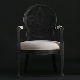 Fleur de Lis Full French/Cream Linen Arm Chair