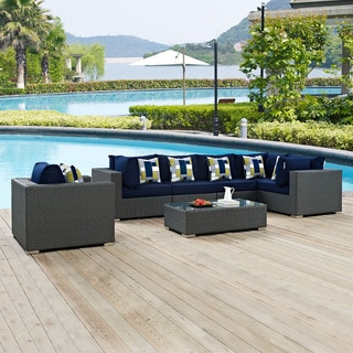 Sojourn 7 Piece Outdoor Patio Sunbrella Sectional Set