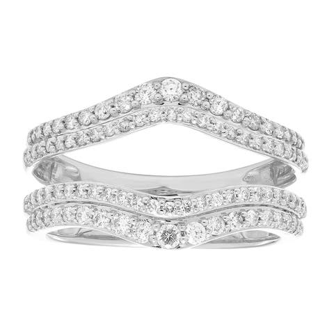 14k Gold 2/3ct TDW Double-layer Diamond Ring Enhancer