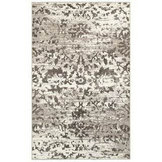 L and R Home 'Adana' White and Light Beige Olefin Indoor Area Rug (7'9 x 9'10)
