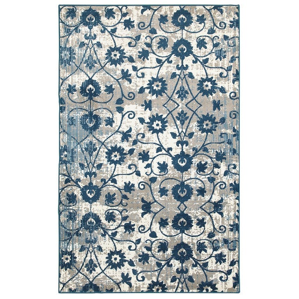 L and R Home Adana Light Beige and Spa Blue Olefin Indoor Runner Rug (1'10 x 7'1)