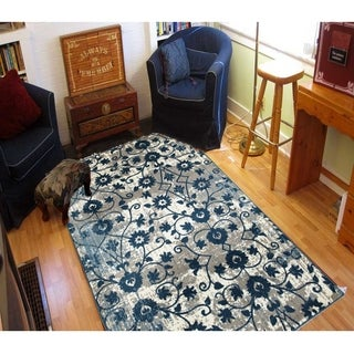 L and R Home Adana Light Beige and Spa Blue Olefin Indoor Area Rug (7'9 x 9'10)