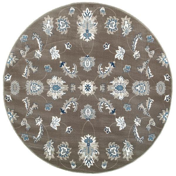 LR Home Adana Grey/ Blue Indoor Round Rug - 9' x 9'
