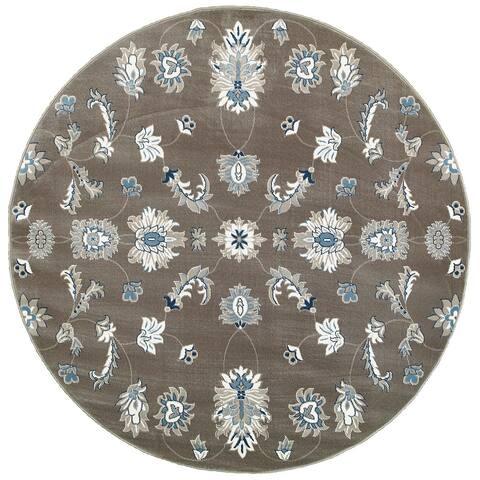 LR Home Adana Grey/ Blue Indoor Round Rug (9'1 x 9'1) - 9' x 9'