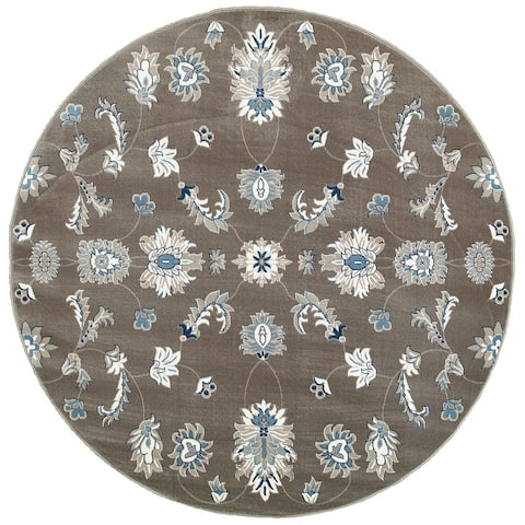LR Home Adana Grey/Blue Olefin Indoor Round Rug (6'2 x 6'2) - 6' x 6'