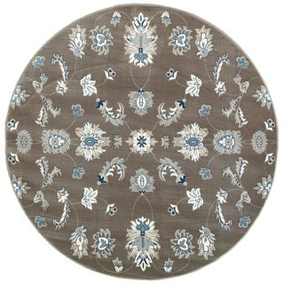 L and R Home Adana Grey/Blue Olefin Indoor Round Rug (6'2 x 6'2)