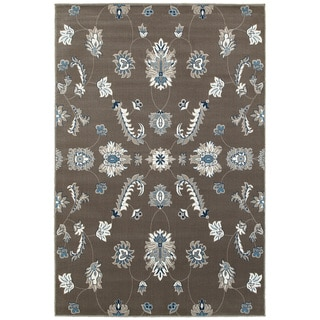 L and R Home Adana Grey and Blue Olefin Indoor Accent Rug (1'10 x 3'1)