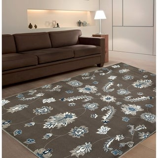 L and R Home Adana Grey and Blue Indoor Area Rug (5'1 x 7'5)