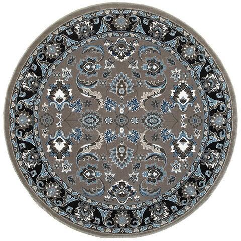 LR Home Adana Grey/Black Olefin Indoor Round Rug (9'1 x 9'1) - 9' x 9'