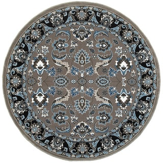 L and R Home Adana Grey/Black Olefin Indoor Round Rug (9'1 x 9'1)