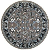 LR Home Adana Grey/Black Olefin Indoor Round Rug - 9' x 9'