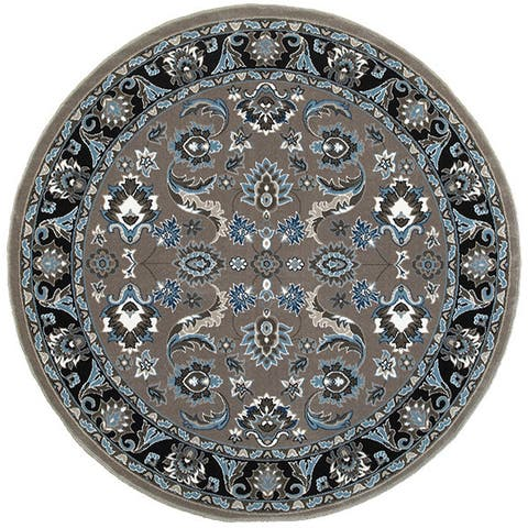 LR Home Adana Grey/Black Olefin Indoor Round Rug (6'2 x 6'2) - 6' x 6'