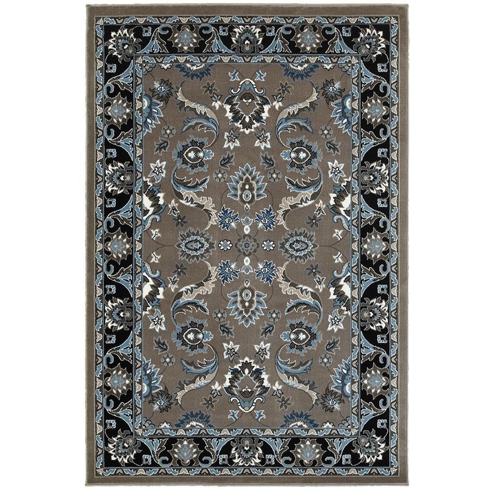 LR Home Adana Grey and Black Olefin Indoor Accent Rug (110 x 31) - 110 x 31/Surplus (110 x 31/Surplus - Grey/Black)