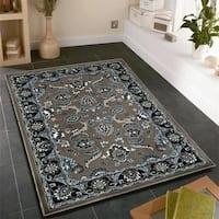 LR Home Adana Grey/Black Olefin Indoor Area Rug (7'9 x 9'10) - 7'9 x 9'9