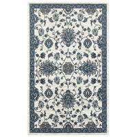 LR Home Adana White/Spa Blue Olefin Indoor Accent Rug - 1'10 x 3'1